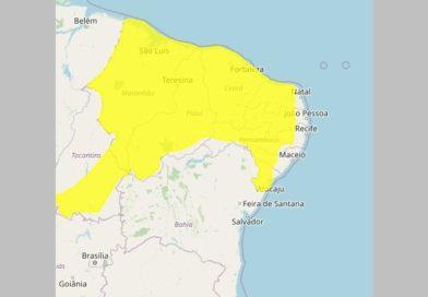Inmet emite alerta de perigo potencial por chuvas intensas para Patos e várias cidades do Sertão